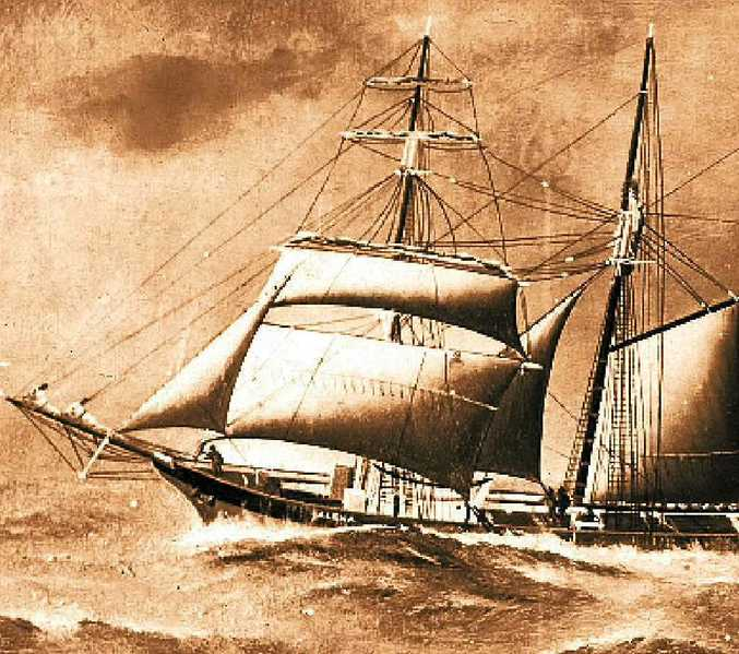 UNDER SAIL: One of the many sailing ships that sailed the east coast in the late 1800s.