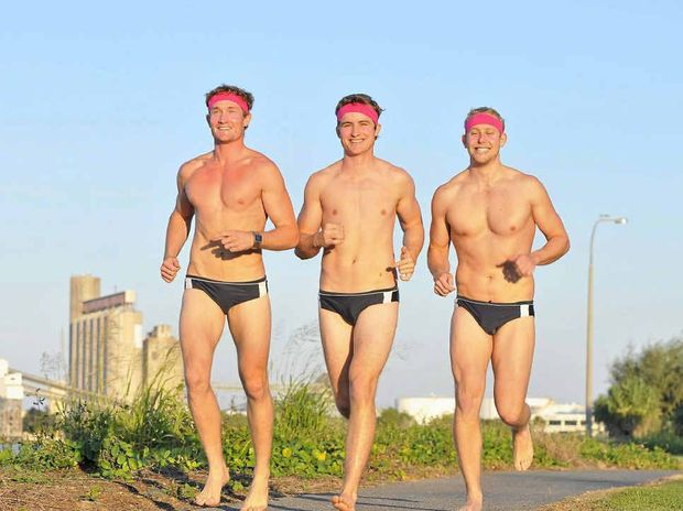 (L-R) Reede McHugh, Noah Marsh and Gerard Melrok are dressing down for breast cancer.