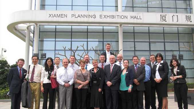 Coast delegates on the Sunshine Coast Business and Investment Mission to China in front of the Xiamen Urban Planning Exhibition Hall.