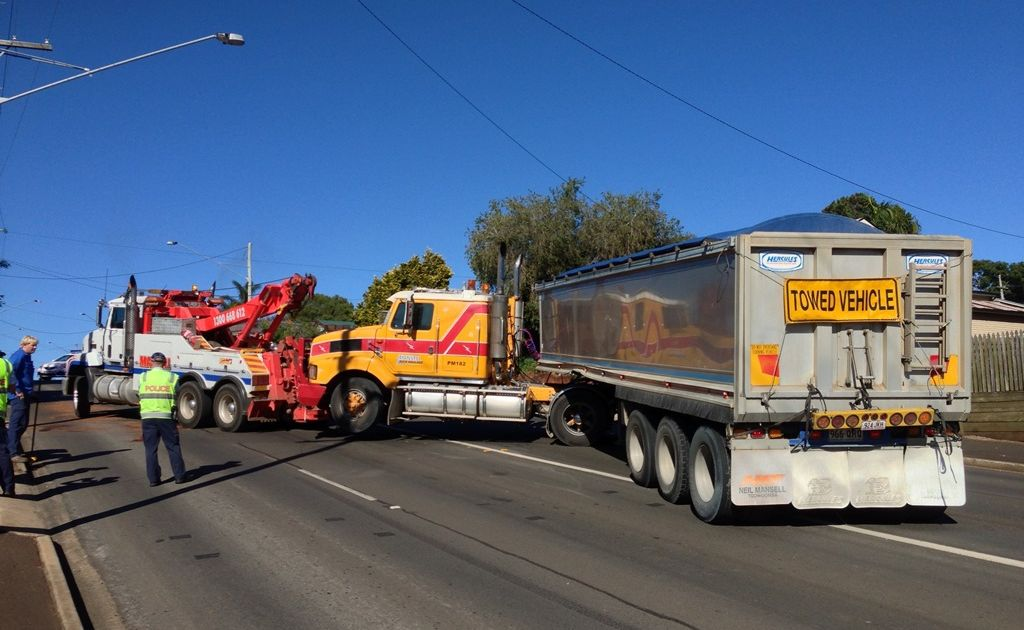 Police praised the driver of this truck on West St, whose quick thinking prevented a tragedy.