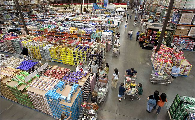 Inside of one of Costco stores.