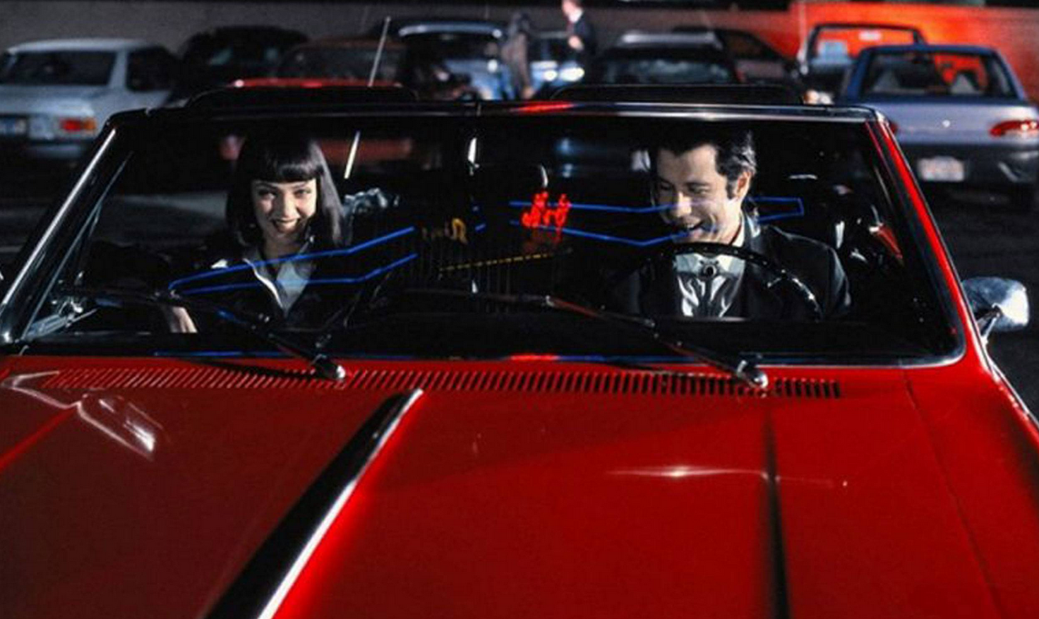 A still from the 1994 film Pulp Fiction with the Cherry red convertible which has been recovered nearly two decades after thieves stole it.