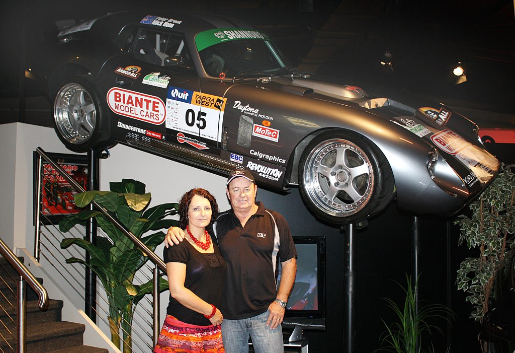 Peter Champion, with his wife Sandy, is selling his collection of Peter Brock's race cars, road cars and memorabilia.