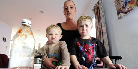 Tauranga mum Lee-anne Swinburne has laid a complaint against McDonald's after the fast-food outlet on three occasions overlooked requests for a ketchup-free burger for her 3-year-old son Aiden Swinburne-Dixon (right). With them is her nephew Brayden Dixon, 3.