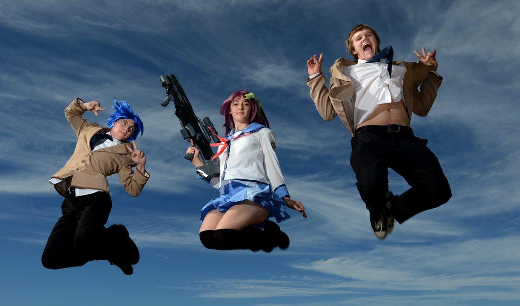 Image for sale: James Yardley as Takamatsu, Renee Booker as Yuri and Dylan Neal as Otonashi from Angel Beats. Going to Supernova Photo: John Gass / Daily News