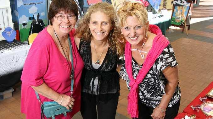 Early birds at the Marina Twilight markets Marilyn Parker, Cilinda Atkins and Jenna Sparkle.