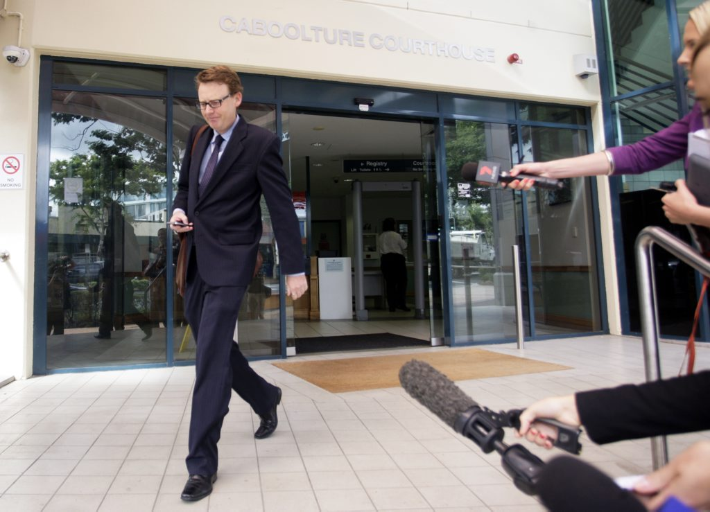 Alpaca killer's defence attorney Kurt Fowler walks out of the Caboolture Magistrates Court. Photo Vicki Wood / Caboolture News