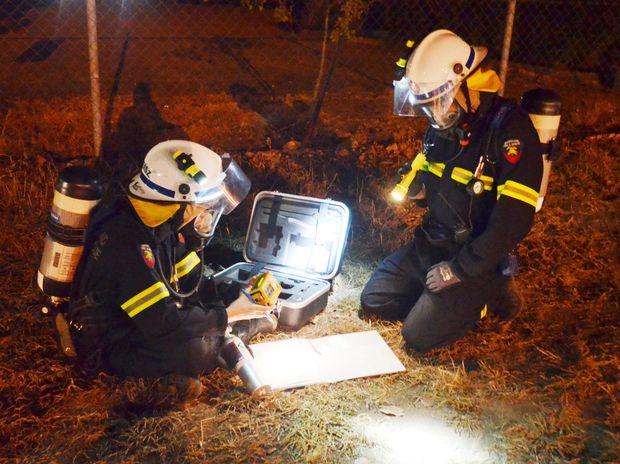 Roma Firies on site at last night's training drill.