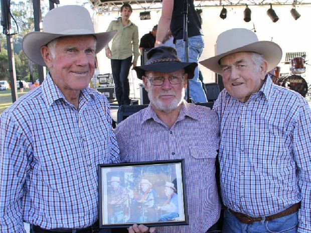 Enjoying their time at the first Widgee Thornside Country Music Muster is Berard Webb, Bill McIntyre and Fabian Webb.