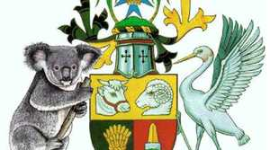 AUSSIE NATIVE: A Queensland coat of arms, left, designed by Paul Tully with a koala on the crest, which he wants to replace the crest with a red deer.