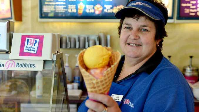 Baskin Robbins Mackay owner Julie Hollard is excited to be offering Daily Mercury readers two scoops of ice cream in a waffle cone for $6.