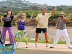 Cr Paul Steindl and Zumba instructors (from left) Sharon Fry, Elena Borg and Nikolai Romanov swap the couch for exercise.