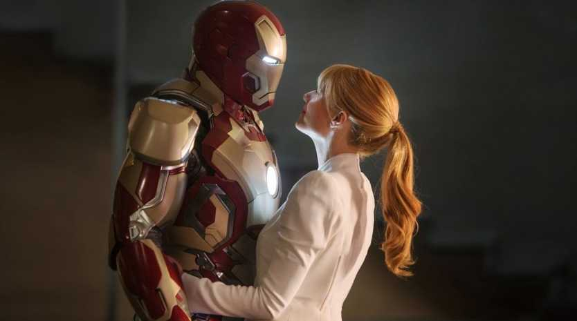 Robert Downey Jr, left, and Gwyneth Paltrow in a scene from the movie Iron Man 3.
