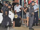 Police dealing with crowds on New Years Eve in Byron Bay 2012.