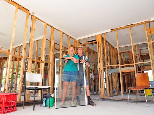 REBUILDING: Jean and Bill Davis rebuild their lives, 3 months after the flood wiped out their home in North Bundaberg. Photo: Max Fleet / NewsMail