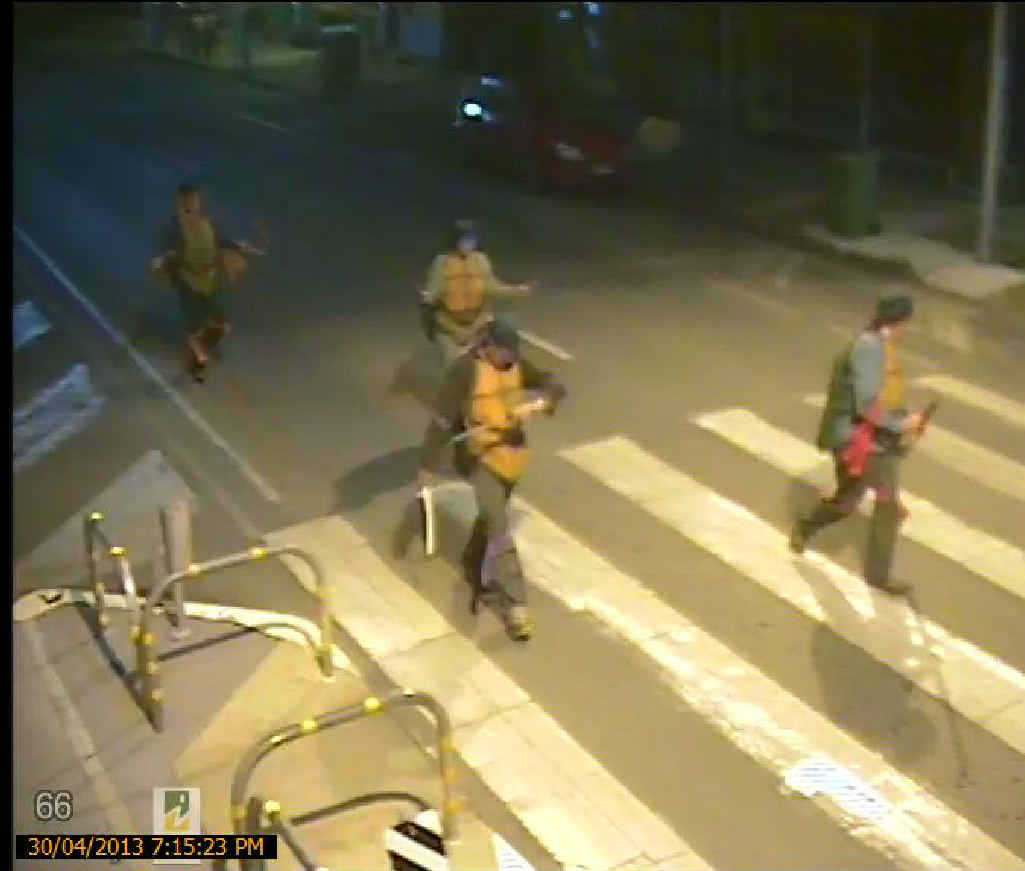 CRIME-BUSTERS: Safe City camera footage of the four ninja turtles who patrolled Rosewood streets on Tuesday evening.