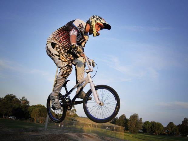 AIR TIME: Blake McCarroll takes off from a jump at Moran St.