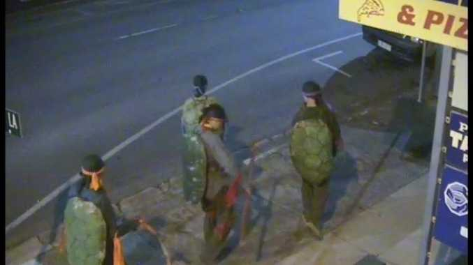 Safe City camera footage of the four ninja turtles that patrolled Rosewood streets on Tuesday night. Photo: Contributed