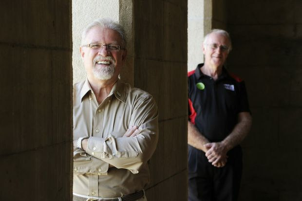Jim de Busman visiting from the America will be putting Gordon Dryden and the Miner Chords singers through their vocal scales ahead of the barbershop National Titles. Photo: Claudia Baxter / The Queensland Times