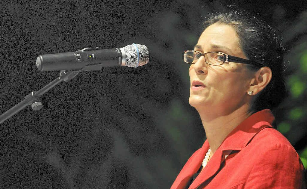 ACTIVIST WARNING: BG Group Australia chair Catherine Tanna, pictured addressing a summit in Gladstone in 2010.