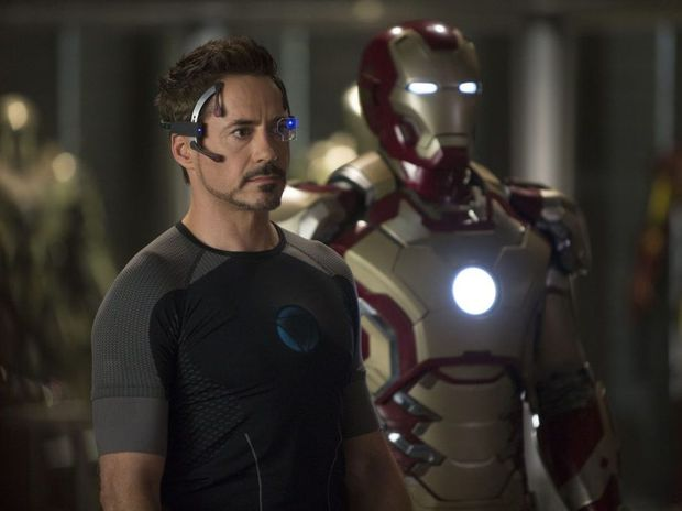 Robert Downey Jr in a scene from the movie Iron Man 3.