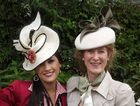 Ashley Breckenridge (left) wearing a hat designed by her aunt (pictured right), Louise Macdonald, on their way to Oaks Day. Photo Contributed