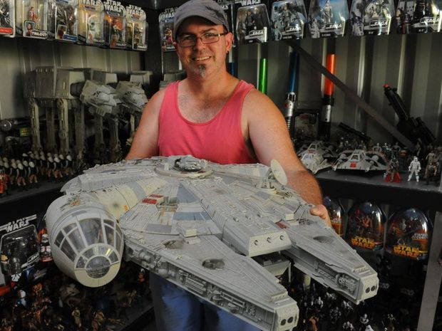 SMUGGLERS FREIGHTER: Clinton van Den Berg hold a Millenium Falcon from his Star Wars collection. Photo: Mike Knott / NewsMail