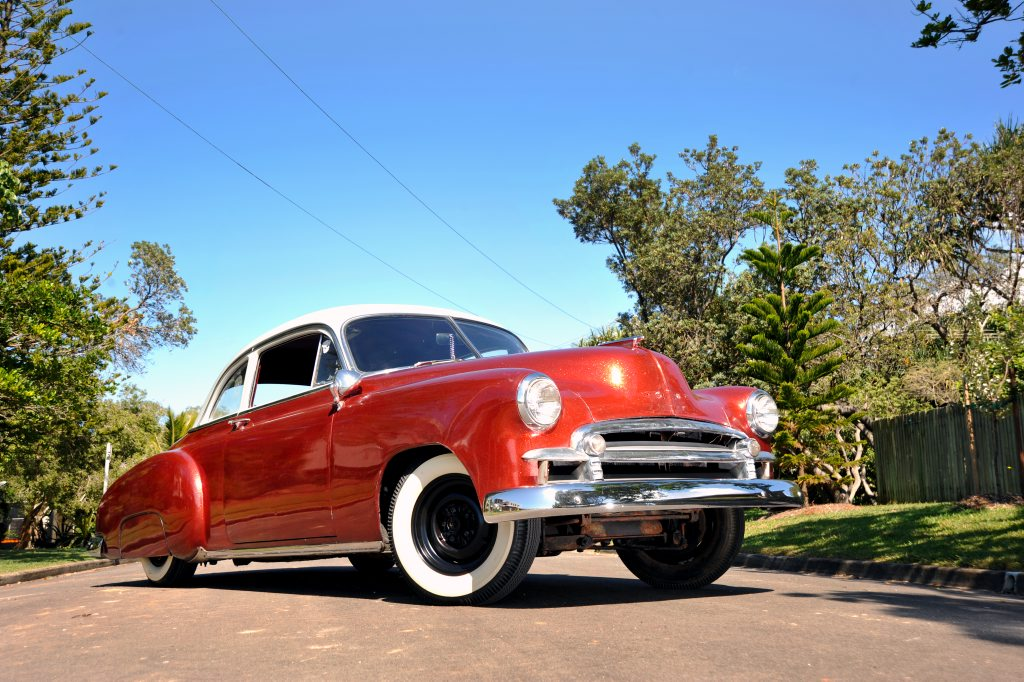 Moffat Beach's Cameron Nitschke's 1950 Chevrolet Deluxe Coupe.