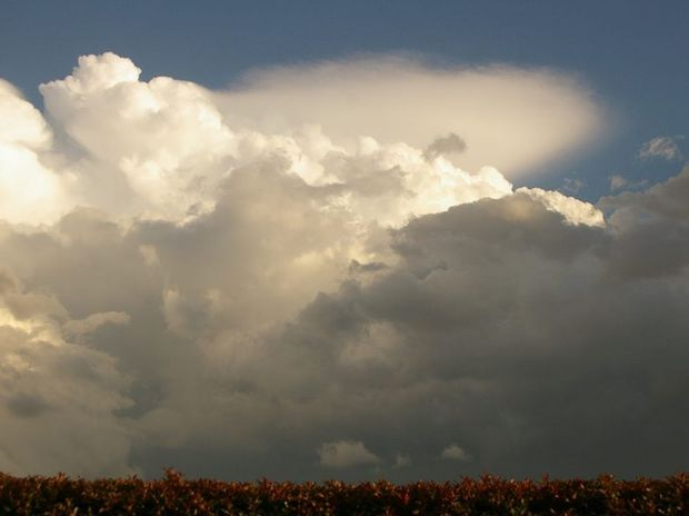 These storm clouds emerged over a field at Glenvale yesterday at 4.30pm.