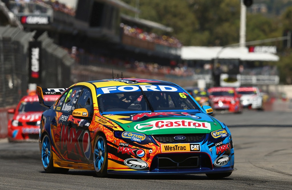 Will Davison drives the #6 Pepsi Max Crew FPR Ford during race one of the Clipsal 500, which is round one of the V8 Supercar Championship Series, at the Adelaide Street Circuit on March 2, 2013 in Adelaide, Australia.