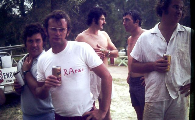 No wonder these Coffs Rugby veterans - Des Hoy, Doug Beedie, Dave Simmons, Graham Lockett and Phil Crofts - are showing their age, considering the brand of beer they drank in the 1970s.