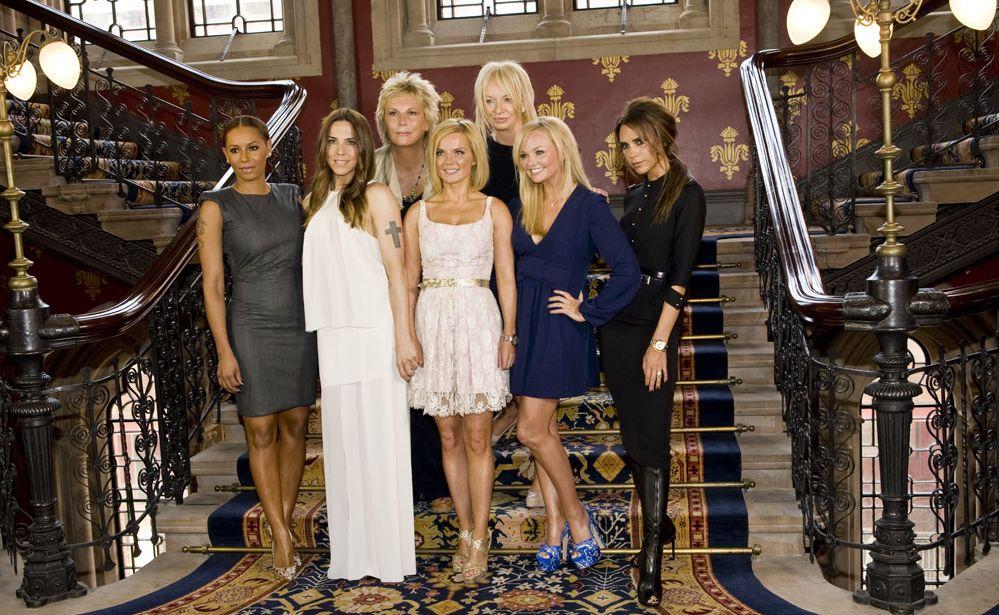Spice Girls with Viva Forever! creators Judy Cramer and Jennifer Saunders.