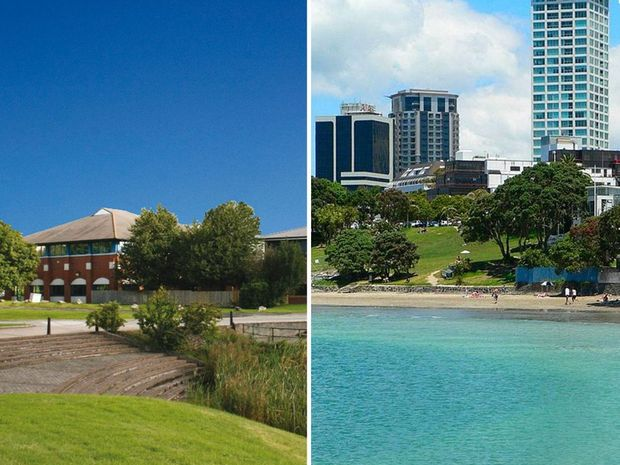 Moneypenny employees are swapping their offices in Wrexham, left, for Takapuna, New Zealand