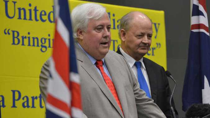 SINGING PRAISES: Clive Palmer announces Fisher candidate Bill Schoch at a press conference.