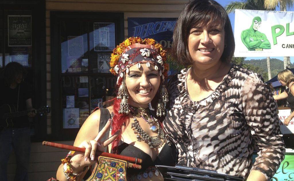 Richmond MP Justine Elliot with Rad Anonima at the 2013 Nimbin MardiGrass