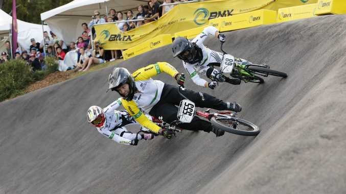 Melinda McLeod leads the field on her way to successive BMX national championships in Brisbane. Photo Reflex Photography