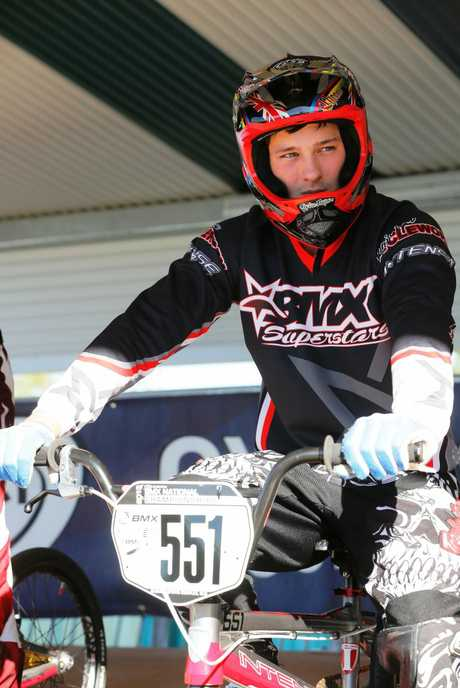 Corey Frieswyk eyes the opposition in the BMX national final in Brisbane. Photo Reflex Photography