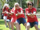 May day celebrations at Queens Park in Maryborough - Josie McDuff from the Qld Nurses Union in the tug of war. Photo: Alistair Brightman / Fraser Coast Chronicle