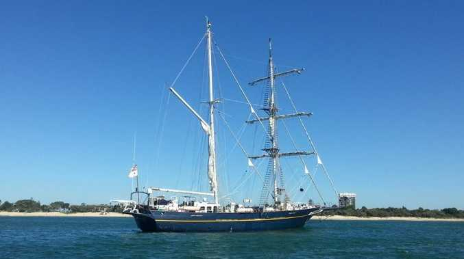 The Young Endeavour sits off Mooloolaba on Saturday.