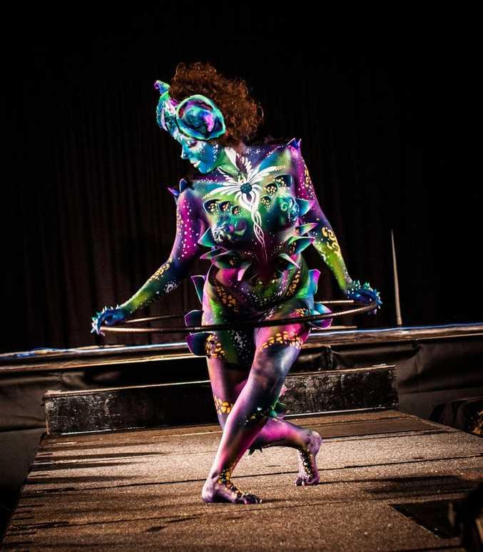 Rachel Coles models Kelli MacAlpine's body art at the Australian Face and Body Art Show.