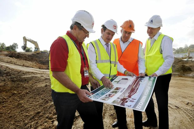 PJ Davis COO of Bunnings, Mayor paul Pisasale, Cr Andrew Antoniolli and Simon Hawkins of ADCO, at the launch of the new West Ipswich Bunnings on the corner of Clay and Brisbane Sts. Photo: Claudia Baxter / The Queensland Times