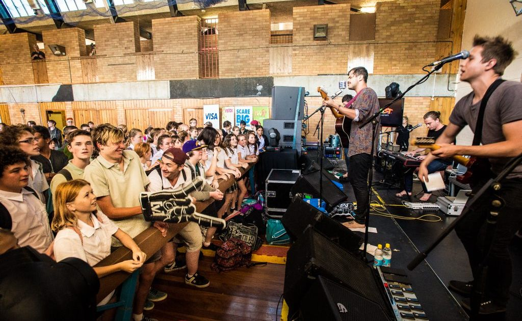 Bad Pony plays at Orara High School for workshop day. Photo: Trevor Veale / The Coffs Coast Advocate