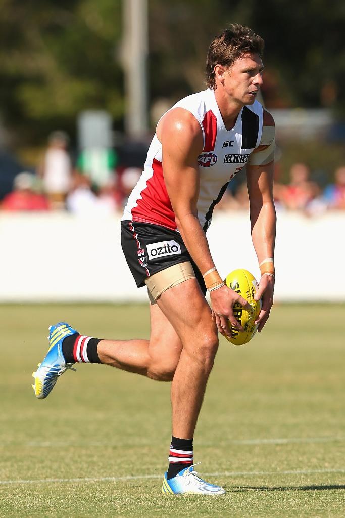 Justin Koschitzke of the Saints kicks during a St Kilda Saints AFL Intra-Club match at Linen House Oval on February 9, 2013 in Melbourne, Australia.