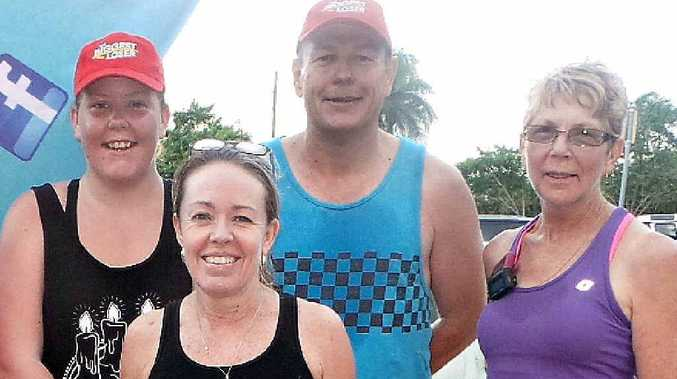 Biggest Loser contestant Jess O'Malley, LayZee runner Chris Evangelou, Biggest Loser contestant Sam O'Malley and LayZee runner Dawn Mansfield took part in Saturday's 5.45am jog around Mackay.