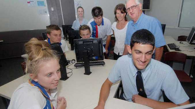 RAAG safety co-ordinator Graeme Ransley with St Patrick's Year 12 ICT teacher Maria Blakey and students (from left) Megan Benson, Lachlan Pierpoint, Brianna Rogers, William Shannon, Brady Baldwin and Jacob McDougal.