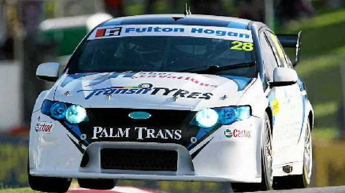 Mackay's Morgan Haber has his car on two wheels in the V8 Supercars Dunlop Series on the weekend in Perth.