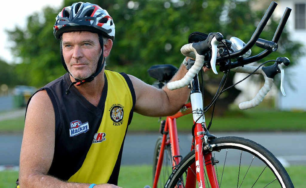 Bakers Creek AFL player Jason O'Shannessy is planning to ride his bike to Caboolture in June to raise funds and awareness for charity Beyond Blue. He hopes to complete his gruelling challenge in four days.