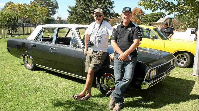 Proud owner of the VG Valiant Kevin Bulmer from Brisbane with Glen Trafford at Leslie Park on Saturday.