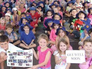 Kids send message to injured classmate