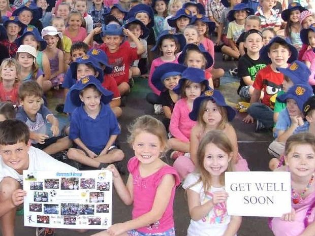 WELL WISHERS: Students from Grafton Public School with cards made for injured Sebby McLachlan.